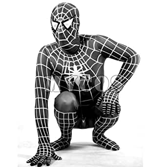 【MVCOS】イベント 通気 柔らかい セクシー ブラックとホワイト ライクラ スパイダーマン 全身タイツ コスチューム (L)