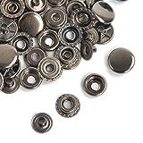 ジャンパーホック 大 レザークラフト ジャンパー ボタン 15個セット 凹 凸 手芸 DIY レザー クラフト 小物 被服 (ニッケル 15組)
