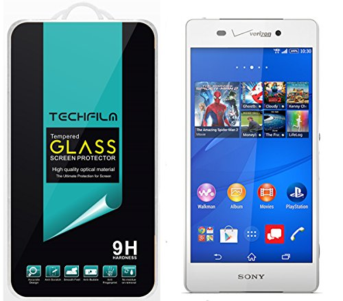 TechFilm®- Sony Xperia Z3v [Tempered Glass] Screen Protector, Premium Ballistic Glass Round Edge [0.3mm] Ultra-Clear Anti-Scratch, Anti-Fingerprint, Bubble Free, Maximum Screen Protection from Bumps, Drops, Scrapes, and Marks [1 Pack]- Retail Packaging смартфон sony xperia xa1 ultra dual