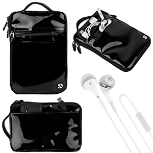 """(Black) VanGoddy Hydei Patent Leather Bag Case for RCA / SVP 7"""" Tablet + White VanGoddy Headphones at Electronic-Readers.com"""