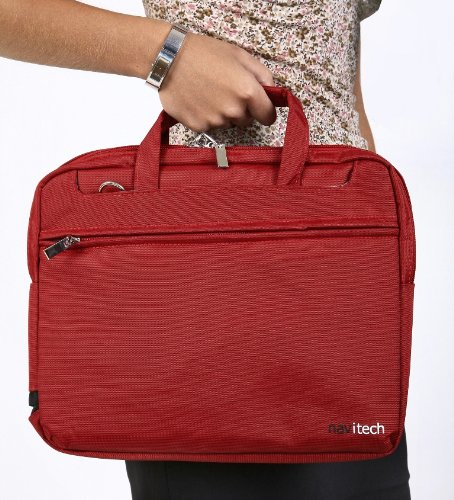 Navitech Ruby Red Sleek Premium Water Resistant Shock Absorbent 13 1 to 15 4 Laptop Notebook Carry Bag Case For The Acer Aspire AS6530G Acer Aspire CS21SW Acer Aspire Timeline 5810T Acer Aspire 4810T Acer Aspire 5920G Acer Aspire 5715Z Acer eMach