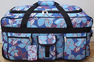 24 Pour Moi Lightweight Floral Wheeled Holdall Trolley Bag Case Blue