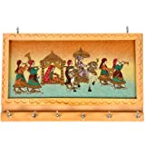Little India Handicraft Gemstone Painting Key Hanger (Set Of 6, Cream)