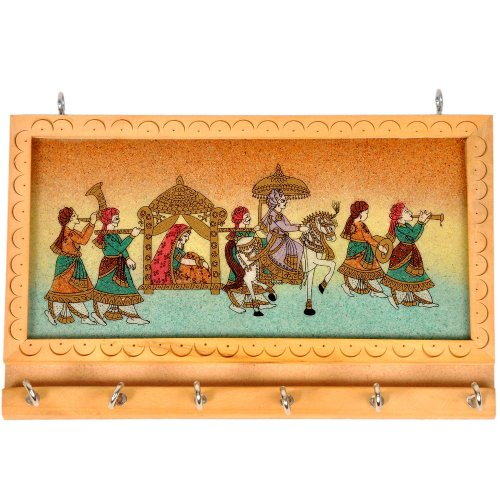 Little India Handicraft Gemstone Painting Key Hanger  (Set of 6, Cream,HCF213)