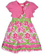 "Sugah & Honey ""Spring Meadow"" Dress with Shrug - pink, 3t"