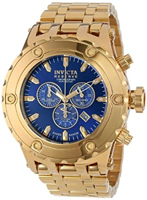 Invicta Men's 14507 Subaqua Reserve Chronograph Blue Dial 18k Gold Ion-Plated Stainless Steel Watch