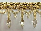 """4"""" Crystal Beaded Tassel Fringe Trim TF-32/12 Antique Gold"""