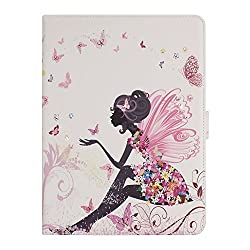 Floral Case for iPad Air 2, Flip Case for iPad 6, IKASEFU(TM) Girl's Cute Flower PU Leather Folio Case Protective Book Style Flip Cover Bling Case with Stand and Rhinestone for Apple iPad Air 2/ iPad 6(2014 Release)(Butterfly Fairy)
