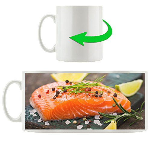 Saumon au sel de mer, Motif tasse en blanc 300ml céramique, Grande idée de cadeau pour toute occasion. Votre nouvelle tasse préférée pour le café, le thé et des boissons chaudes.