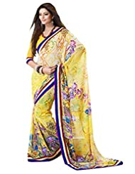 Indian Designer Sari Classy Floral Printed Faux Georgette Saree By Triveni - B00NGFCL5I