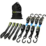 Sunferno Ratchet Straps Tie Down 2200Lbs Break Strength, 15 Foot - Heavy Duty Straps to Safely Move your Motorcycle and Cargo - Includes 4 pack Soft Loop Straps - Black (4 pack)