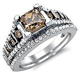 1.94ct Brown Cushion Cut Diamond Engagement Ring Bridal Set 14k Gold