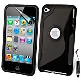 AOA CasesTM Apple Ipod Touch 4 4g 4th Generation S-Line Series Wave Hydro Gel Silicone Case Cover Skin Includes Screen Protector And Mini Stylus (iPod Touch 4 4th 4G, Black)
