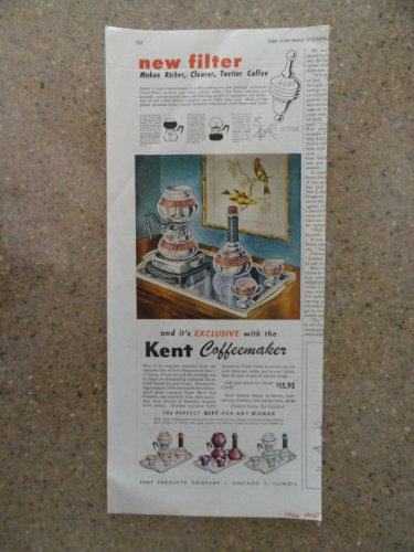 Kent Coffeemakers,Vintage 40'S Print Ad (Coffee Makers)Original Vintage 1946 The Saturday Evening Post Magazine Print Art.