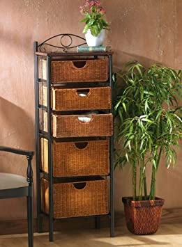 Iron & Wicker Storage Shelf