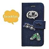 Ricamo iPhone6/6s ケース 手帳型 ジーンズ デニム 刺繍 革/カード収納/スタンド/横開き/高級 (Brooklyn)