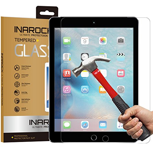 "iPad Air / Air 2 / Pro Screen Protector Glass, InaRock 0.26mm Tempered Glass Screen Protector for iPad Air / iPad Air 2 / New Apple iPad Air / iPad Pro 9.7"" with Retina Display Most Durable [Easy-Install Wings]"