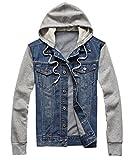 Easy Mens Casual Vintage Splice sleeves Hoodie Denim Blouse Jacket Coat