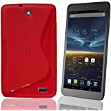 Vodafone Smart Tab 4 Protective Cover Case Bag Shell TPU Silicone Case Cover F Red