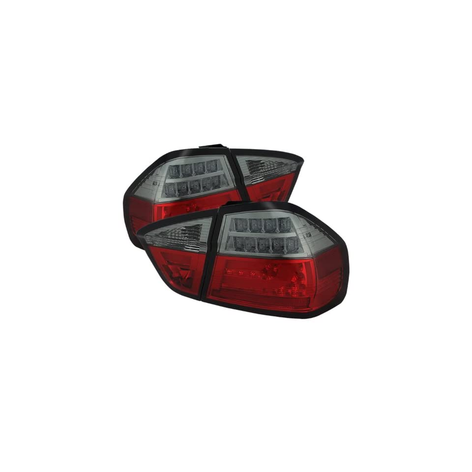Spyder Auto (ALT YD BE9006 LBLED G2 RS) BMW 3 Series E90 4 Door Red/Smoke Light Bar Style LED Tail Light with Indicator   Pair