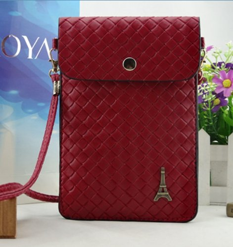Big Mango Big Capacity Cute Eiffel Tower Cell Phone Woven Pouch Pu Leather Bag Crossbody Purse For Apple Iphone 4 4S Iphone 5 5S 5C Samsung Galaxy S4 S3 Galaxy Note 2,Note 3,Huawei Mate,Htc, Key Cards With Shoulder Strap & Magnetic Snap Buttom Closure - C