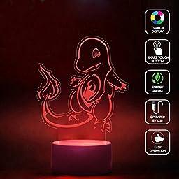 CMLART Pokemon Go Tribal Charmander 3d Lamp Night 7 Color Change Best Gift Night Light LED Furnish Desk Table Lighting Home Decoration Toys