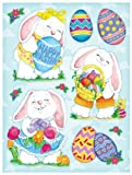 Easter Clings w/ Glitter 12 x 17 Reusable Vinyl Static Window Cling Cutouts - Cute Huggable Easter Bunnies and Eggs