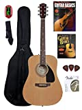 Fender Beginner Acoustic Guitar with Instructional DVD and Book, Gig Bag, Tuner, Strap, Picks, Strings - Natural