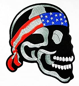 Big Skull Biker Patch Embroidered Iron on Hat Jacket Hoodie Backpack Ideal for Gift/ 19cm(w) X 23cm(h)