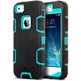 iPhone 5S Case, ULAK Robot Guard Case for Apple iPhone 5S 5 Protection Hybrid 3 Layer Soft Silicone Hard Inner Cover (Blue/Black)