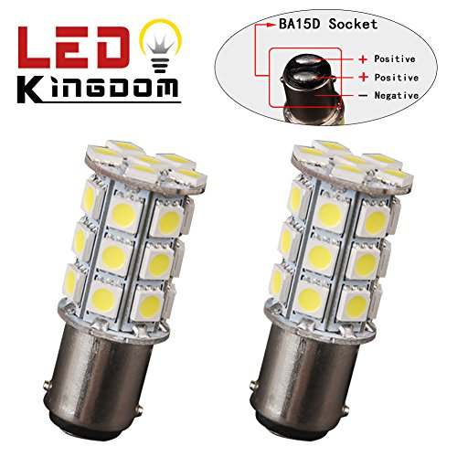 LEDKINGDOMUS 2 X BA15D 5050 27SMD LED DC 9-14V Xenon White Boat Marine RV Car Light Bulb 1142 1076 (1004 Bulb compare prices)