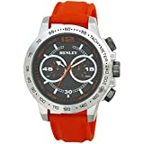 Henley Fashion Watch with Decorative Multi-Eye Dial Men's Quartz Watch with Black Dial Analogue Display and Orange Silicone Strap H020823