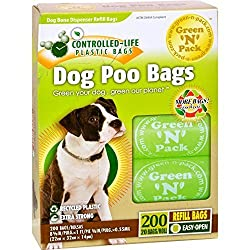 Green N Pack Dog-Waste Refill Bags, Compact Refill Packs, 200 Bags, 10 Rolls (More Bags & Less Waste)