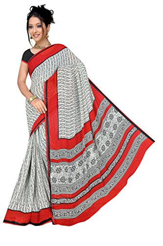 Varsha Sarees Women's Synthetic Georgette Unstitched White & Red Colored Geometric Print Saree_3873a