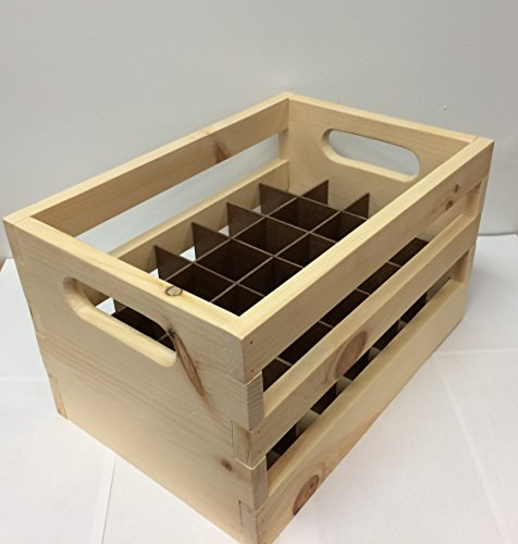 Hand Made Wooden Beer Bottle Crate. 24-Bottle Capacity. Made Locally In The USA! (Beer Rack compare prices)