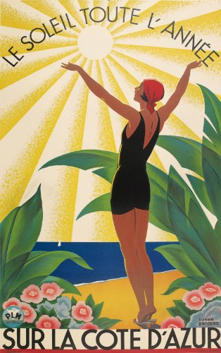 Vintage Travel SUR LA COTE D'AZUR by ROGER BRODERS French 250gsm ART CARD Gloss A3 Reproduction Poster