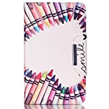 Samsung galaxy tab 4 7.0 case,Dobbytech Synthetic PU Leather hard Flip with Kickstand Soft rubber TPU Inner Holder Impact Resistant Case with Card/Cash Slots Magnetic Closure(Colorful Pen Smile)