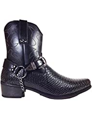 Men S Crocodile Prints Western Cowboy Boots With Side Zipper Belt Buckle And Metal Chain
