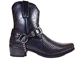 Men\'s Crocodile Prints Western Boots with Side Zipper, Belt Buckle and Metal Chain (Black, 11)