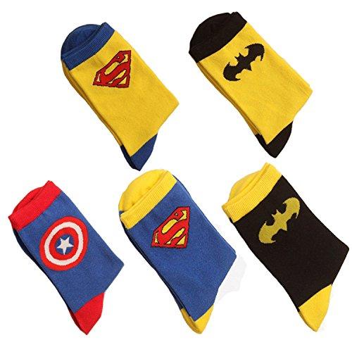 [Cartoon Character Pattern Superman Batman Captain Superheroes Socks] (Batman Dress Socks)