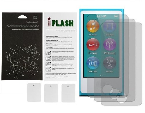 iFlash® Bubble Free Screen Protector: Crystal Clear edition - For Apple Nano 7th Generation - (3Pack) Retail Packaging