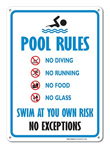 Pool Sign Swimming Pool Rule Sign 14 X10 Blue Red Black On White Rust Free Aluminum Sign