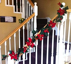 Poinsettia Christmas Garland Indoor Outdoor Decoration 6 Foot Strand