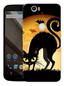"Humor Gang Black Cat Eyes Printed Designer Mobile Back Cover For ""Google Nexus 6 Plus"" (3D, Matte Finish, Premium Quality, Protective Snap On Slim Hard Phone Case, Multi Color)"
