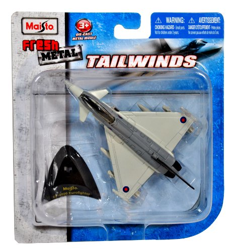 Maisto Fresh Metal Tailwinds 1:132 Scale Die Cast United Kingdom Military Aircraft : British Aerospace Twin-Engine, Canard-Delta Wing, Multirole Aircraft EF-2000 Eurofighter with Display Stand (Dimension: 3-1/4