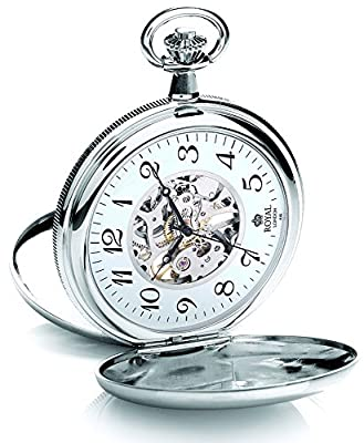 Royal London Pocket Watch 90004-02 Silver Tone Double Hunter