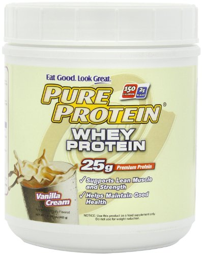 Pure Protein 100% Whey Powder  Vanilla Creme  1-Pound Tub