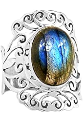 Xtremegems Labradorite 925 Sterling Silver Ring Jewelry Size 7.5 594R