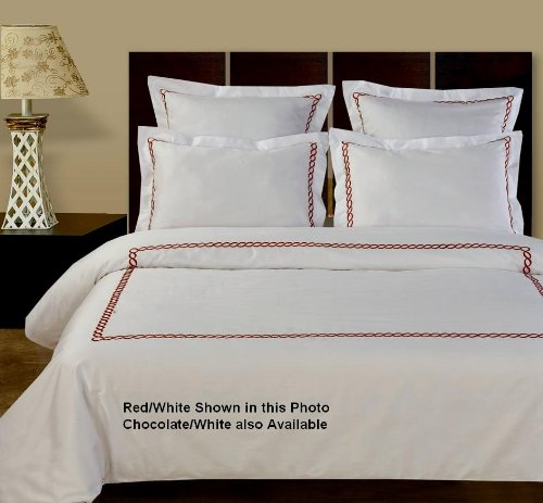 5pc Amy 400tc Egyptian Cotton Duvet Cover Set-White/Red
