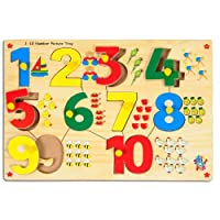 Skillofun Number with Picture Tray with Knobs, Multi Color